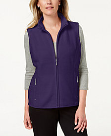 Karen Scott Zeroproof Fleece Stand Collar Vest, Created for Macy's