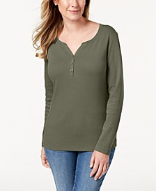 Petite Cotton Henley-Neck Top, Created For Macy's