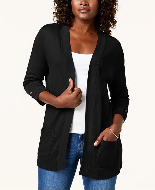 37d18db35a ... Karen Scott Cotton 3 4-Sleeve Open-Front Cardigan