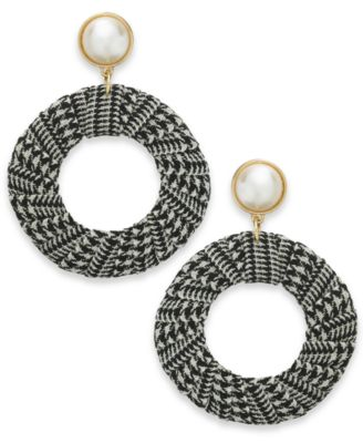 "I.N.C. Extra Large 2.5"" Gold-Tone Imitation Pearl Tweed Drop Hoop Earrings, Created for Macy's"