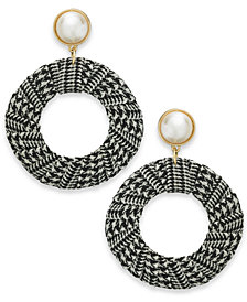 "I.N.C. Extra Large 2.5"" Gold-Tone Imitation Pearl Tweed Drop Hoop Earrings, Created for Macy's"