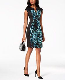 Connected Petite Printed Split-Neck Dress