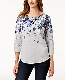 Karen Scott Petite French Terry Sweatshirt, Created for Macy's