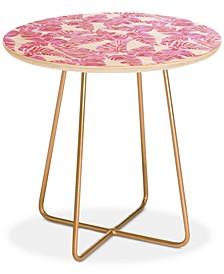 Schatzi Brown Lani Kai Leaf Pink Round Side Table