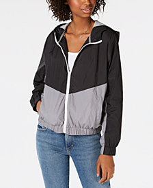 Hippie Rose Juniors' Colorblocked Windbreaker Jacket