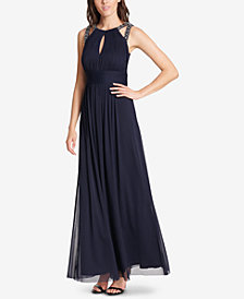 Jessica Howard Pleated Rhinestone-Embellished Gown