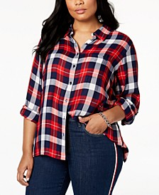 Plus Size Roll-Tab Plaid Shirt, Created for Macy's
