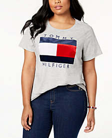 Tommy Hilfiger Plus Size Velvet-Flocked Logo T-Shirt, Created for Macy's
