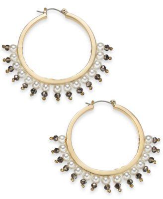 "I.N.C. Large 1.6"" Gold-Tone Bead & Imitation Pearl Hoop Earrings, Created for Macy's"