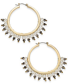 I.N.C. Gold-Tone Bead & Imitation Pearl Hoop Earrings, Created for Macy's