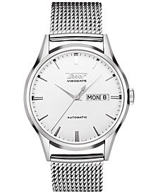 Men's Swiss Automatic Heritage Visodate Stainless Steel Mesh Bracelet Watch 40mm, Created for Macy's