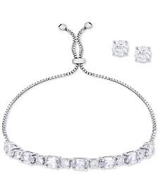 Cubic Zirconia Slider Bracelet & Cubic Zirconia Stud Earrings Set In Fine Silver-Plate, April Birthstone
