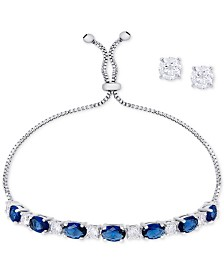 Simulated Sapphire Slider Bracelet & Cubic Zirconia Stud Earrings Set In Fine Silver-Plate, September Birthstone