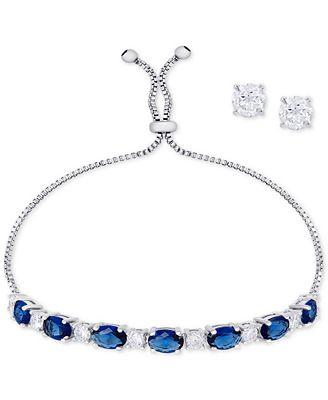 Macy's Simulated Sapphire Slider Bracelet & Cubic Zirconia