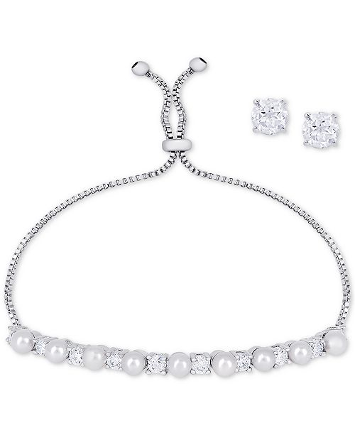 57779daa6 ... Macy's Imitation Pearl Slider Bracelet & Cubic Zirconia Stud Earrings  Set In Fine Silver-Plate ...