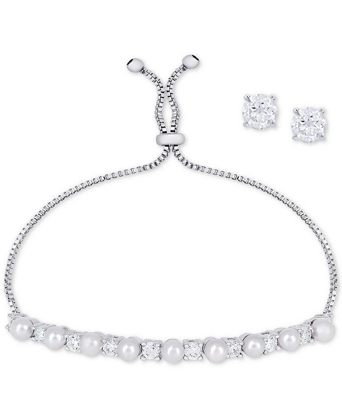 Macy's - 2-Pc. Set Imitation Pearl Slider Bracelet & Cubic Zirconia Stud Earrings in Fine Silver-Plate