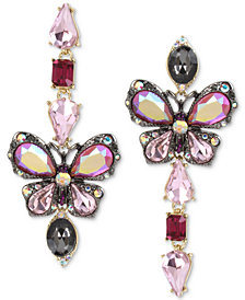 Betsey Johnson Tri-Tone Stone Butterfly Mismatch Linear Drop Earrings