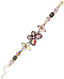 Betsey Johnson Two-Tone Multi-Stone Butterfly Bracelet