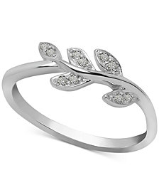 Diamond Leaf Vine Ring (1/10 ct. t.w.) in Sterling Silver