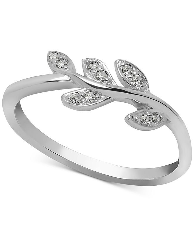 Macy's Diamond Leaf Vine Ring (1/10 ct. t.w.) in Sterling Silver