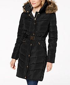MICHAEL Michael Kors Petite Faux-Fur-Trimmed Hooded Belted Puffer Coat