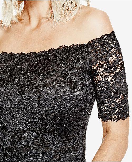 d39661fd3f66 GUESS Dara Off-The-Shoulder Lace Bodysuit - Tops - Juniors - Macy s
