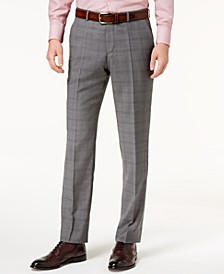 Men's Modern-Fit Medium Gray Glen Plaid Suit Pants