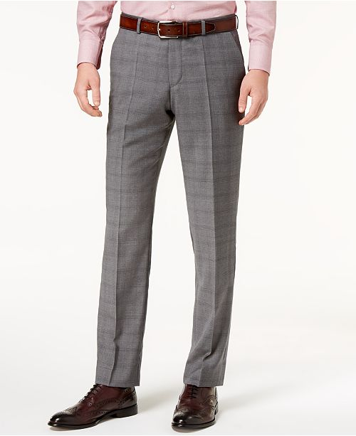 5a6189001 Hugo Boss Men's Modern-Fit Medium Gray Glen Plaid Suit Pants ...