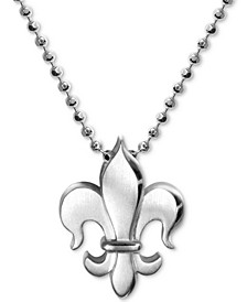 """Fleur-de-Lis 16"""" Pendant Necklace in Sterling Silver"""