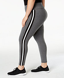 Ideology Plus Size Varsity Striped Leggings, Created for Macy's