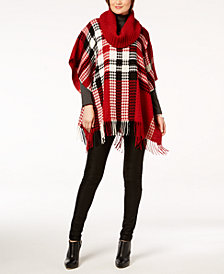 V. Fraas Plaid Knit-Collar Poncho