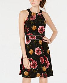 BCX Juniors' Floral Fit & Flare Dress