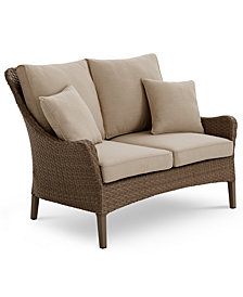 Silver Lake Indoor/Outdoor Flat Rattan Loveseat with Sunbrella® Cushions, Created for Macy's