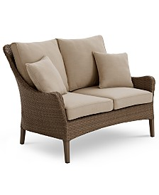 CLOSEOUT! Silver Lake Indoor/Outdoor Flat Rattan Loveseat with Sunbrella® Cushions, Created for Macy's