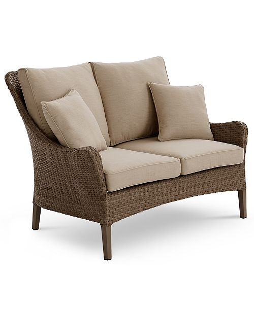 Groovy Closeout Silver Lake Indoor Outdoor Flat Rattan Loveseat With Sunbrella Cushions Created For Macys Short Links Chair Design For Home Short Linksinfo