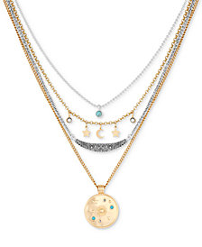 "Lucky Brand Two-Tone Charm & Stone Celestial Removable Multi-Layer Necklace, 16"" + 2"" extender"