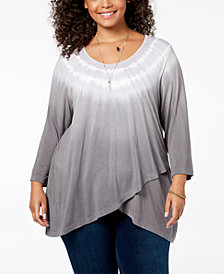 Style & Co Plus Size Tie-Dyed Asymmetrical-Hem Top, Created for Macy's