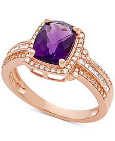Amethyst (2 ct. t.w.) & Diamond (1/3 ct. t.w.) Ring in 14k Rose Gold
