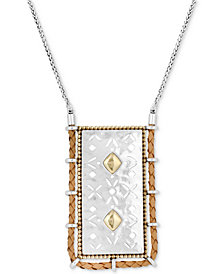 "Lucky Brand Two-Tone & Leather Patterned 32"" Pendant Necklace"
