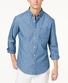 Tommy Hilfiger Men's Classic Fit Dobby Denim Oxford Shirt, Created for Macy's