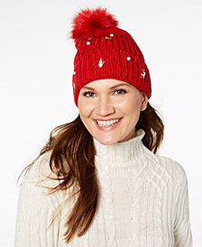 Charter Club Embellished Charm Beanie, Created for Macy's