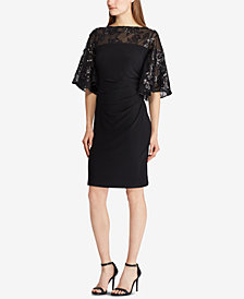 Lauren Ralph Lauren Petite Sheer-Yoke Dress