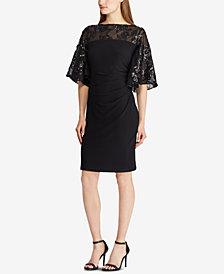 Lauren Ralph Lauren Petite Sheer-Yoke Dress