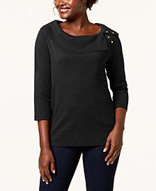 Karen Scott Cotton Boat-Neck Top, Created for Macy's