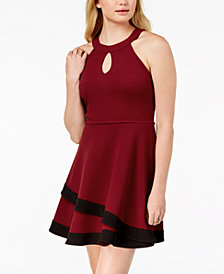 BCX Juniors' Keyhole Halter Fit & Flare Dress