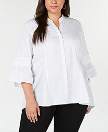 NY Collection Plus Size Poplin Tunic Shirt