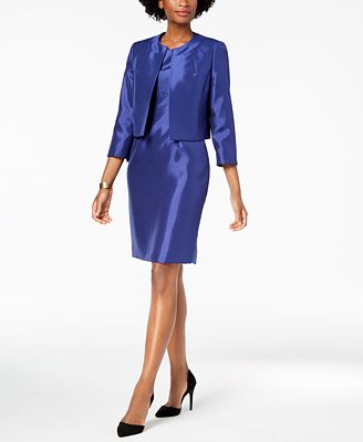 Le Suit Shiny Flyaway Jacket Dress Suit Wear To Work Women