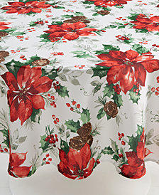 "Bardwil Christmas Watercolor Poinsettia 60"" Round Tablecloth"