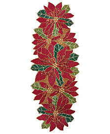 "Leila's Linens 13"" x 36"" All Beaded Poinsettia Table Runner"