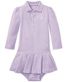 Ralph Lauren Baby Girls Long-Sleeve Cotton Polo Dress